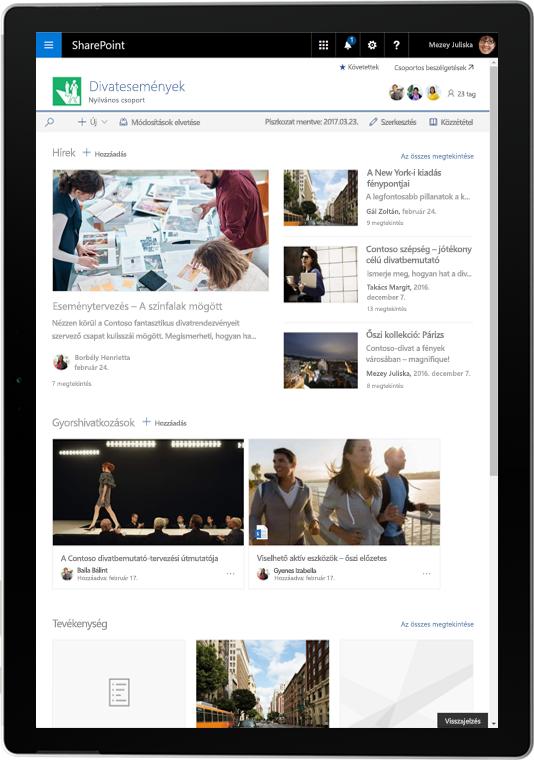 Táblagép, rajta SharePoint-hírekkel és tevékenységekkel