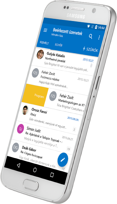 Egy okostelefon, amelyen egy Outlook-postaláda látható