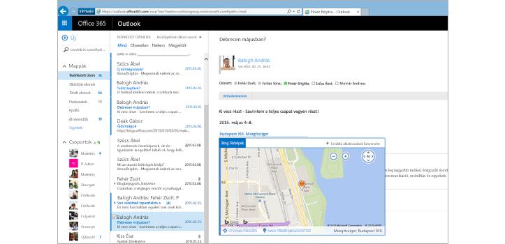 Közelkép egy felhasználó postaládájáról az Exchange-en alapuló Webes Outlookban
