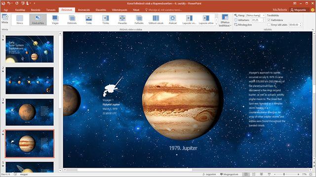 Képernyőkép a PowerPoint Alakváltás áttűnési effektusáról