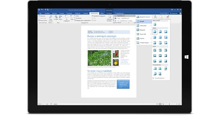 Az új Mutasd meg funkciót egy Word-dokumentumban megjelenítő Surface-táblagép