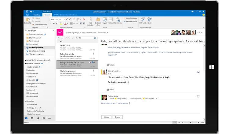 Egy táblagép képernyője, amelyen egy csoportos csevegés látható az Outlookban