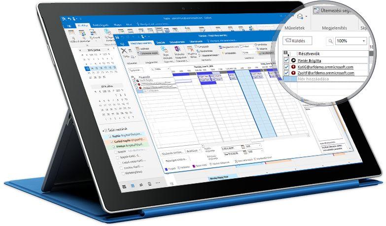 Állványra rögzített táblagép, amelyen az Outlook látható Találkozó nézetben, a résztvevők listájával és elérhetőségével.