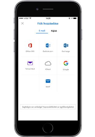 Egy okostelefon, amelyen az Outlook mobilapp Fiók hozzáadása képernyője látszik