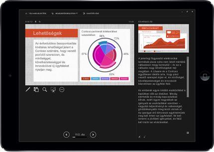 Táblagép, amelyen egy PowerPoint-dia látható Bemutató módban, jelöléssel.