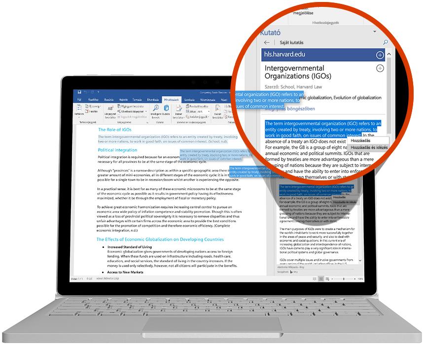 Laptop, a Kutató látható rajta, amint a Wordben használják