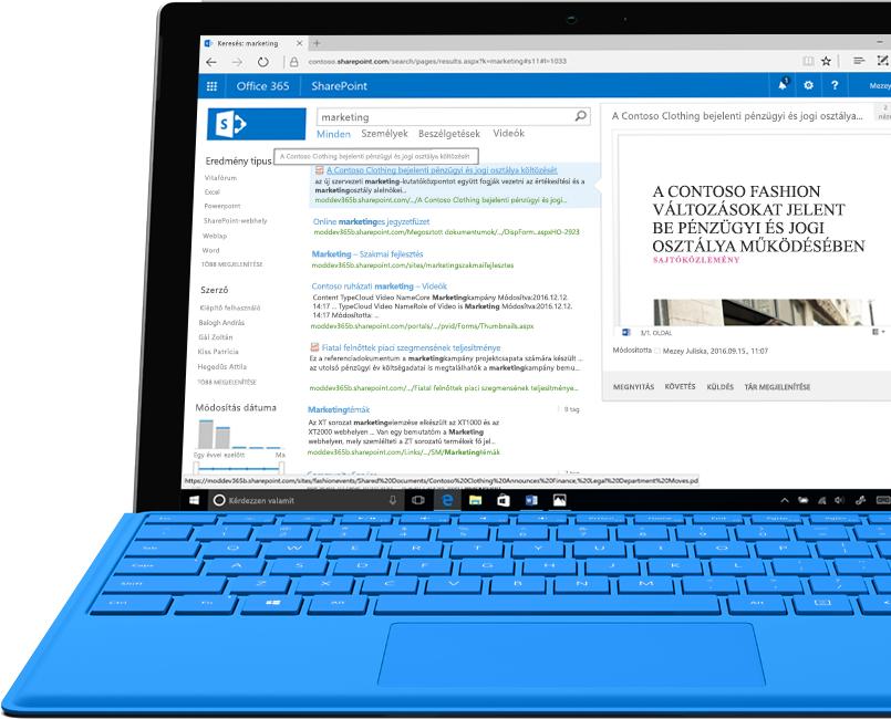 Egy Surface laptop amelyen a SharePoint részeként elérhető teljes szöveges intranetes keresés látható