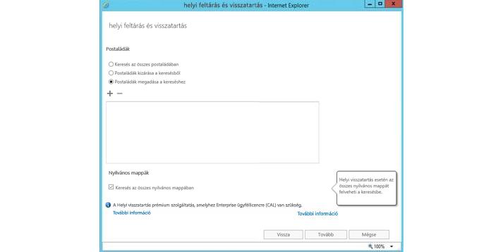 Internet Explorer-ablak a helyi feltárási és visszatartási szolgáltatással
