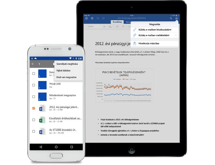Táblagép és okostelefon a OneDrive Vállalati verzió megosztási menüjével
