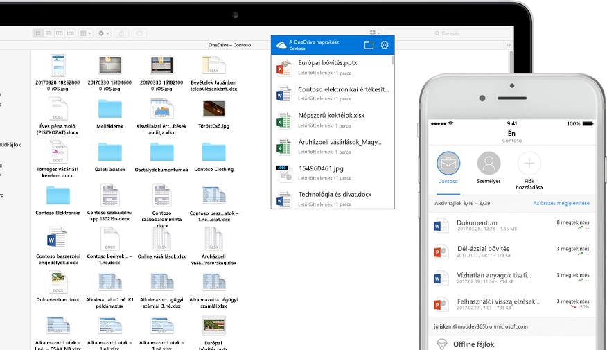 Word-, PowerPoint- és Excel-fájlok, -képek és -mappák a OneDrive-on egy laptop és egy okostelefon képernyőjén