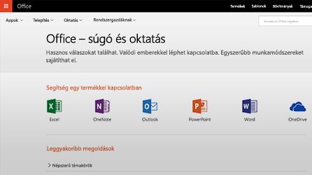 Képernyőkép: Office – súgó és oktatás az Office 365-ben