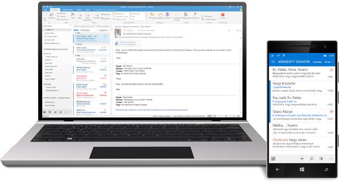 Egy táblagép és egy okostelefon, amelyen egy Office 365-ös beérkezett üzenetek mappa látható