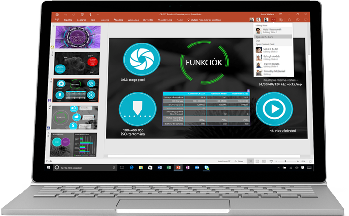 Laptop egy PowerPoint-bemutató diáival, amelyeken egy csoport dolgozik közösen.