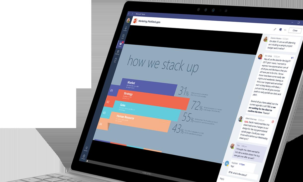 A Microsoft Teams munkaterületen diagramot és beszélgetést megjelenítő laptop