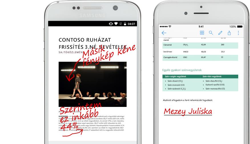 Dokumentumok és a hozzájuk fűzött kézírásos megjegyzések két okostelefon képernyőjén