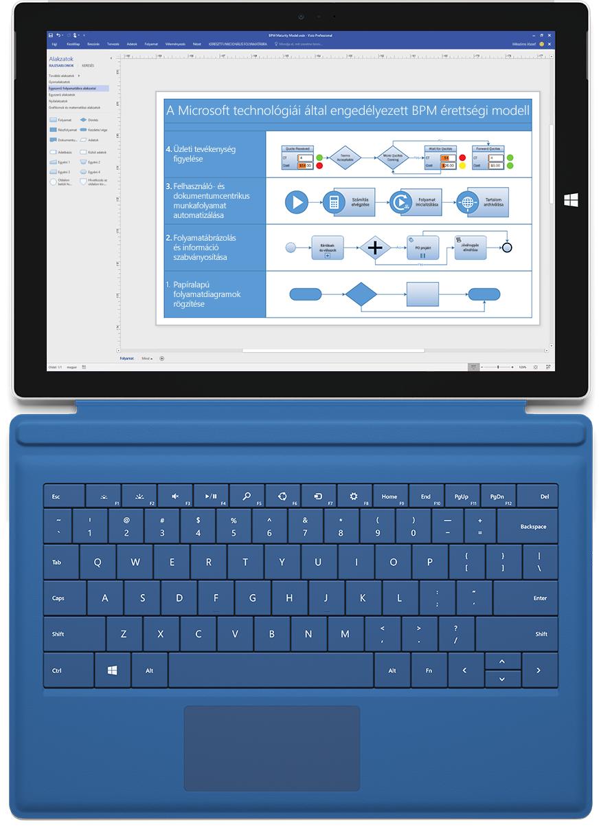 A Visio Professionalben termékbevezetési folyamatdiagramot megjelenítő Microsoft Surface