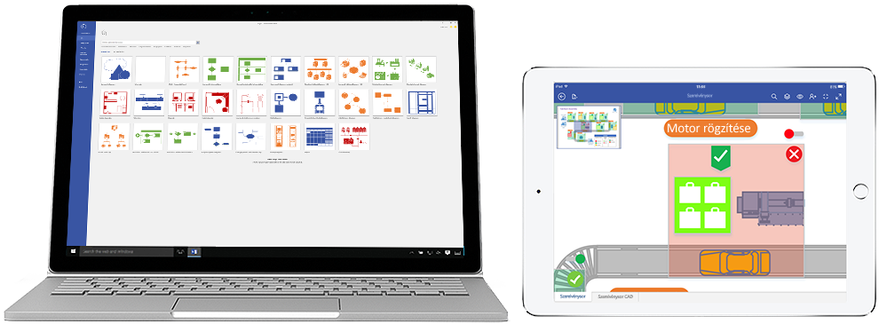 Az Office 365-höz készült Visio Próban készült diagramok Surface-en és iPaden