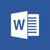 A Microsoft Word emblémája; információk a Word mobilappról a lapon belül