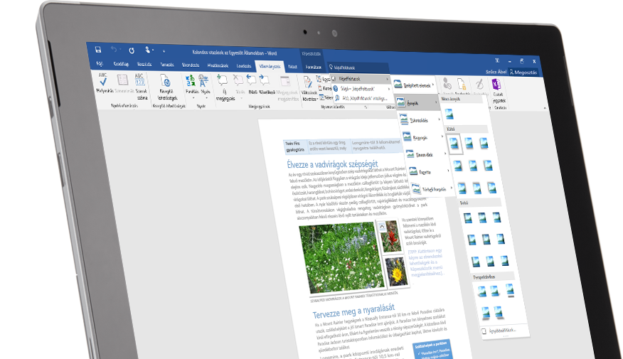 A Mutasd meg funkciót egy Word-dokumentumban megjelenítő Surface-táblagép