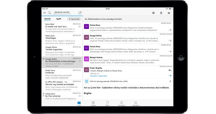 Táblagép, rajta egy reklámok nélküli levelesláda az Office 365-ben