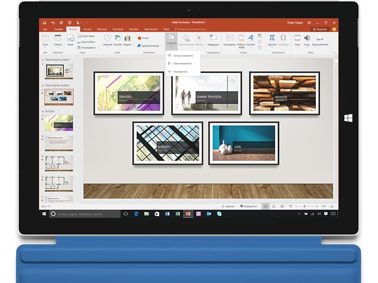 A PowerPoint Nagyítás funkciója egy laptopon