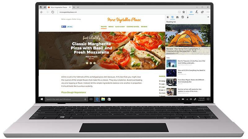A Microsoft Edge Központ panelje a kedvencekkel