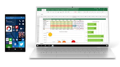 Windows 10 telefon képernyője egy laptopon megjelenítve