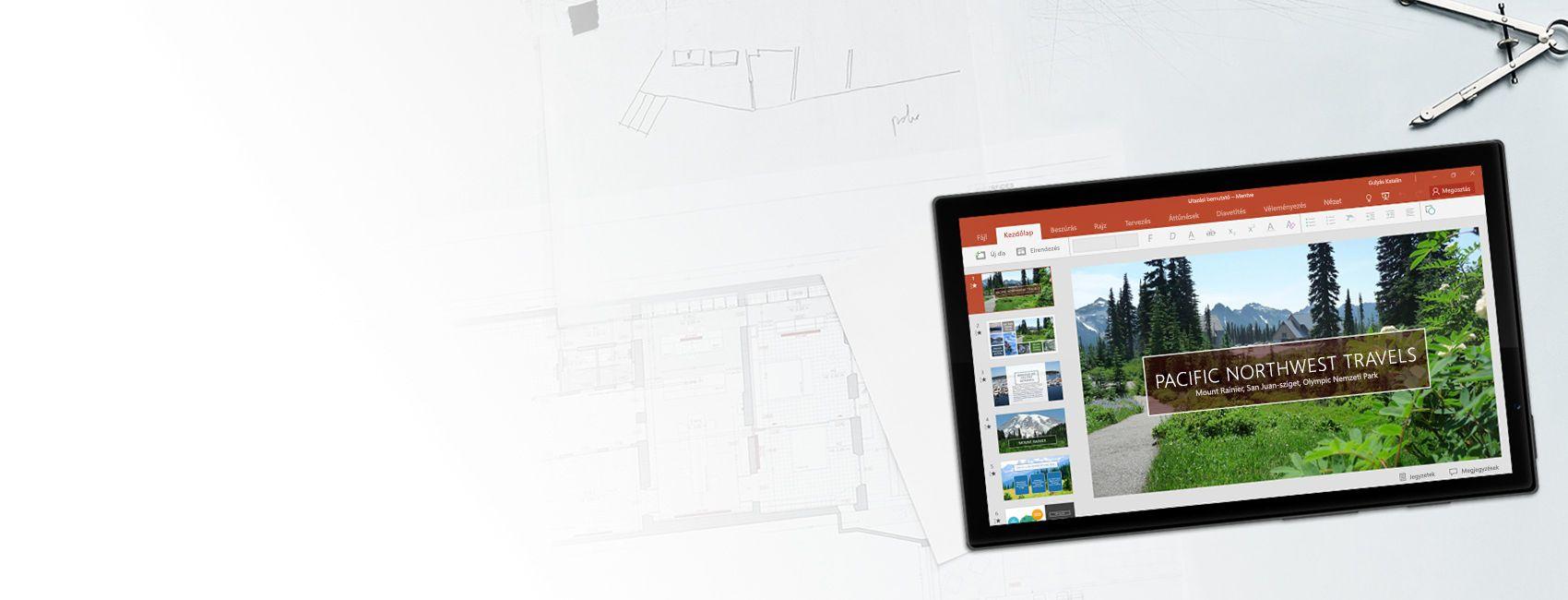 Windows-táblagép, melynek a képernyőjén egy PowerPoint-bemutató látható a Pacific Northwest Travels cégről a Windows 10 Mobile-hoz készült PowerPoint appban