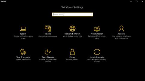Windows 10 sötét módban