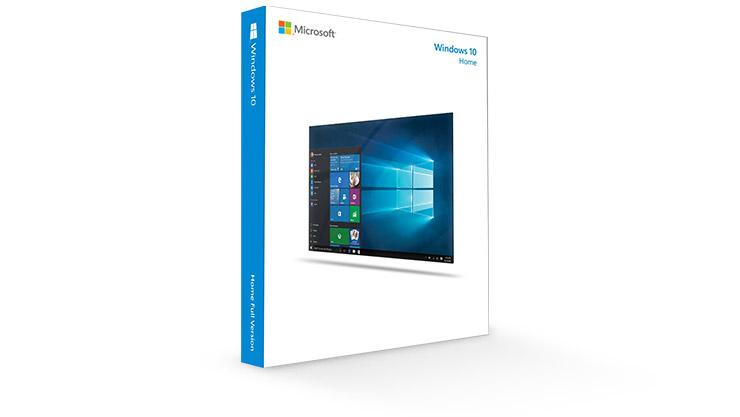 A Windows 10 Home kiadások termékcsomagolása