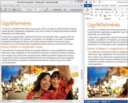 Laptop, amelyen egy Word-dokumentum két különböző, élő elrendezése látható egymás mellett.