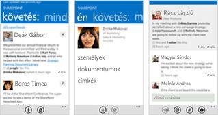 Három képernyőkép a SharePoint Online hírcsatornájáról különféle mobileszközökön.