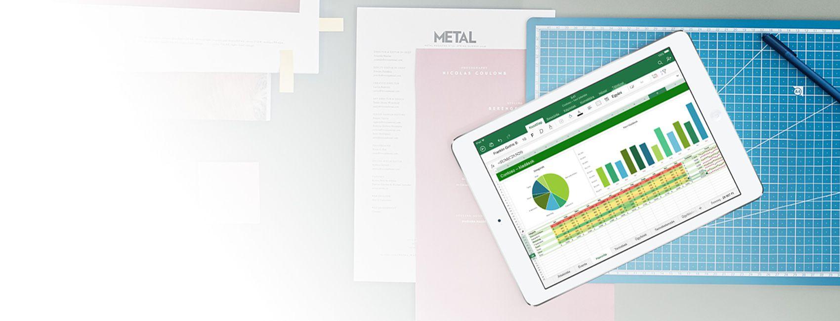 Egy táblagép, amelynek a képernyőjén egy Excel-táblázat és -diagram látható az iOS Excel appban