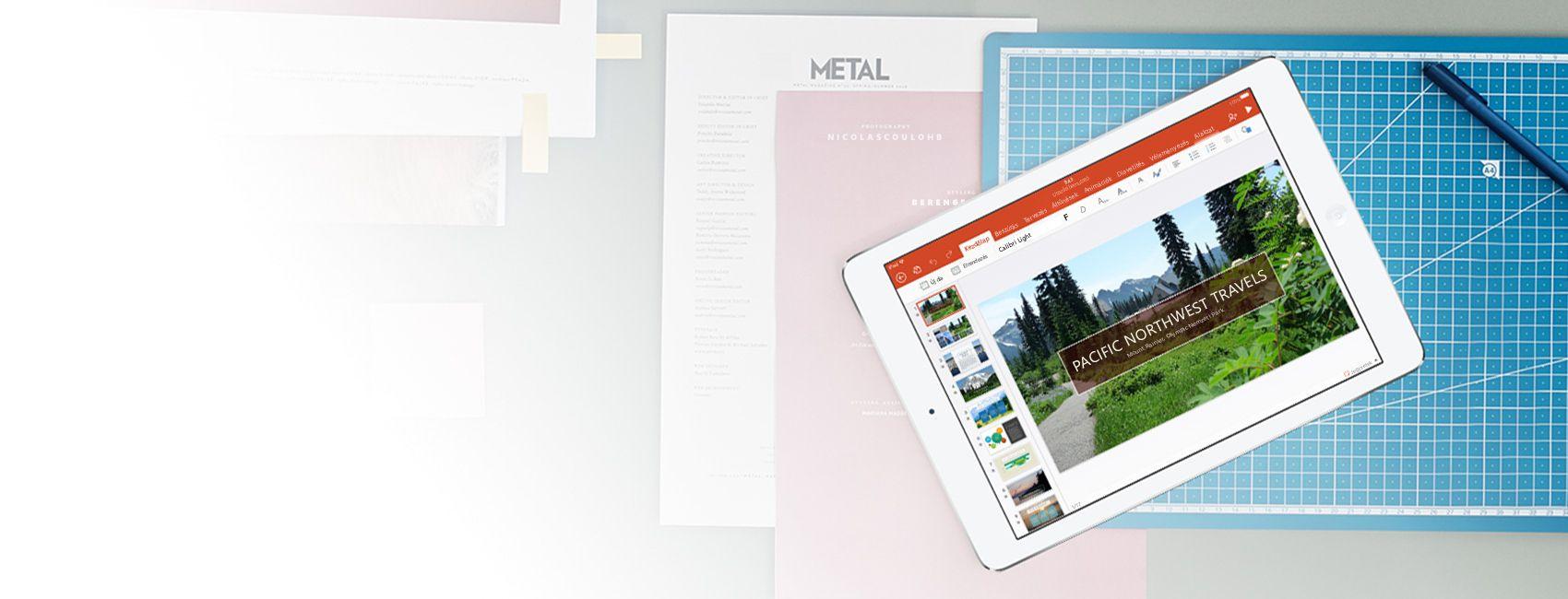 Egy iPad, amelynek a képernyőjén egy PowerPoint-bemutató látható a Pacific Northwest Travels cégről