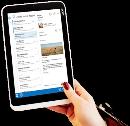Sebuah tablet memperlihatkan pratinjau email Office 365 dengan pemformatan kustom dan gambar.