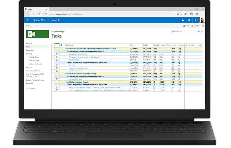 Sebuah komputer laptop menampilkan daftar tugas Project di Office 365 di layar.