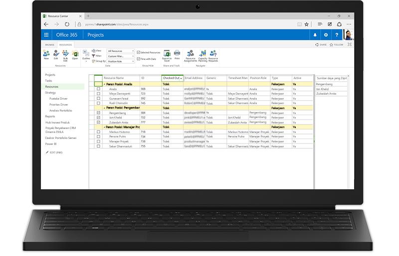 Laptop menampilkan fitur Project Server berbasis SharePoint