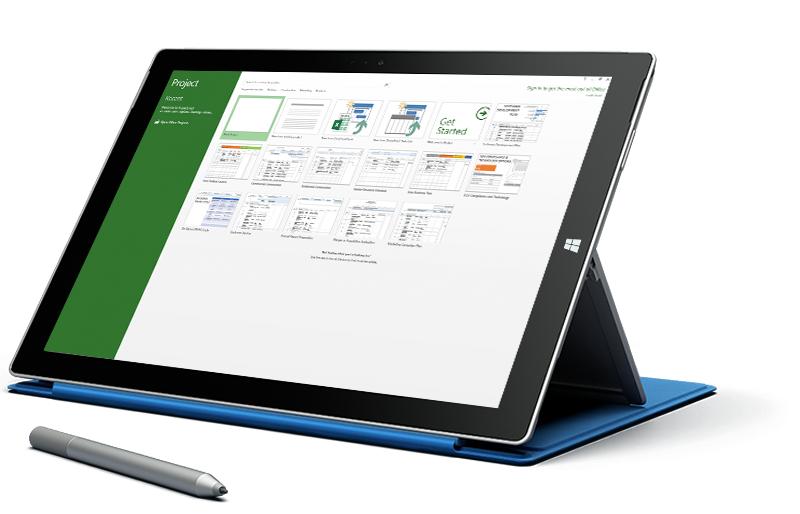 Tablet Microsoft Surface menampilkan layar Proyek Baru di Microsoft Project.