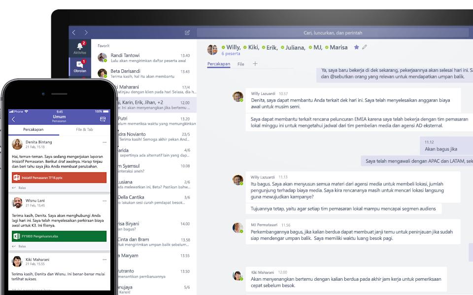 Percakapan Teams di perangkat seluler dan desktop