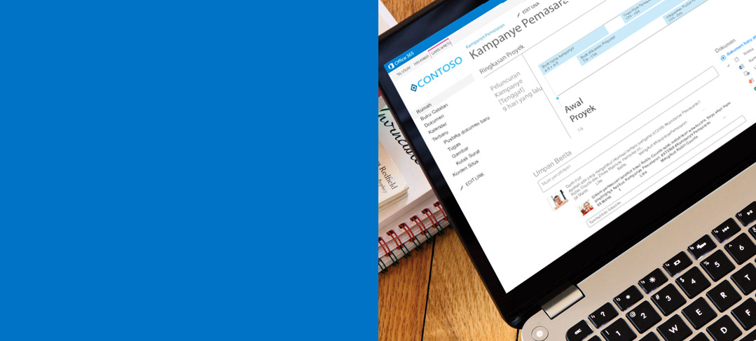 Laptop memperlihatkan dokumen sedang di akses di SharePoint.