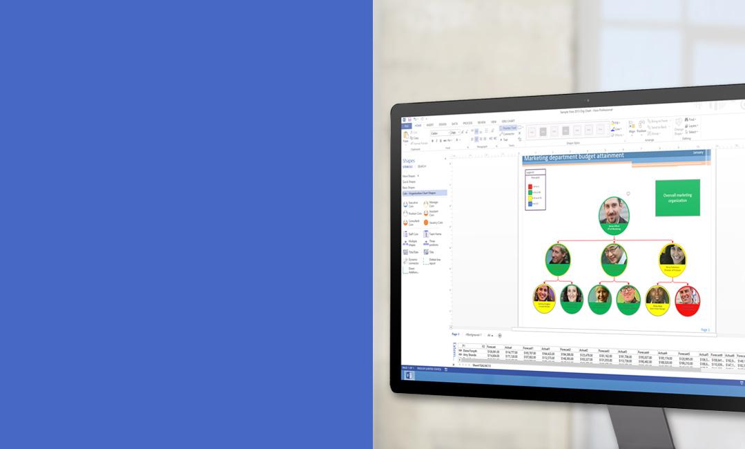 Monitor desktop memperlihatkan diagram di Visio 2013.