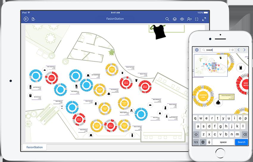 iPad dan iPhone menampilkan diagram panduan pemeliharaan di Visio