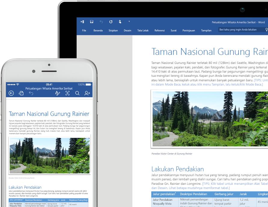 Layar laptop dan ponsel memperlihatkan dokumen Word tentang Taman Nasional Gunung Rainier