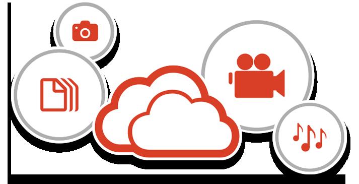 Ikon menunjukkan file yang disimpan di awan dengan Office 365