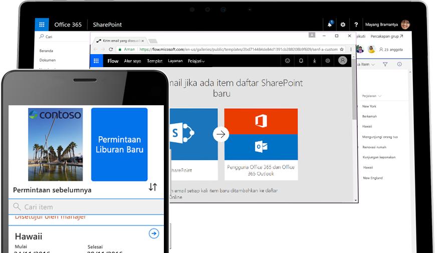 permintaan liburan di smartphone yang didukung oleh Microsoft Flow, dan Microsoft Flow berjalan di PC tablet