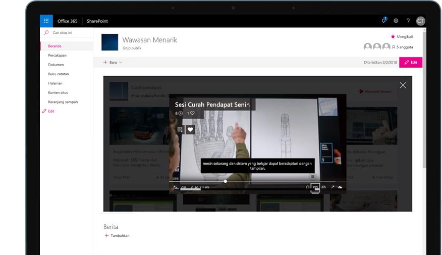 Perangkat dengan SharePoint yang berjalan di Office 365 dan video pelatihan yang sedang diputar