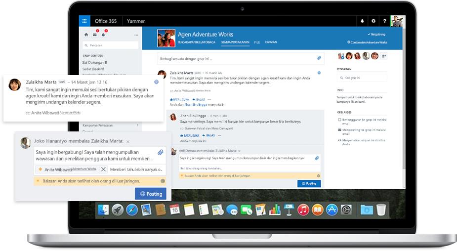 Sebuah laptop menampilkan percakapan dengan rekan kerja dan mitra eksternal di Yammer