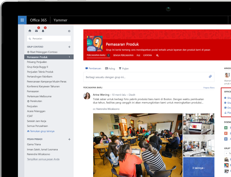 Yammer di laptop dengan integrasi grup Office 365