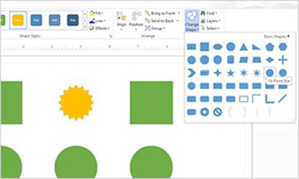 Close-up toolbar dan pita akses cepat di Visio Standard 2013.