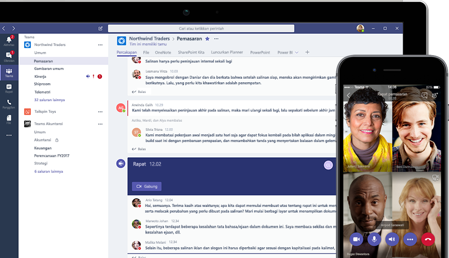 Percakapan Teams di perangkat desktop dan konferensi video Teams di perangkat seluler